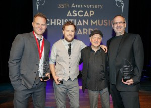 Singer/Songwriter Matthew West, songwriter Ben Glover, guitarist Phil Keaggy and Capitol CMG Publishing's Casey McGinty showcase their awards at the 35th Annual ASCAP Christian Music Awards in Franklin, TN. May 6, 2013